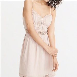 Abercrombie & Fitch Pink Lace Pierced Skater Dress